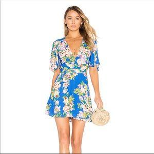 Privacy Please Brisco Floral Wrap Dress Blue S